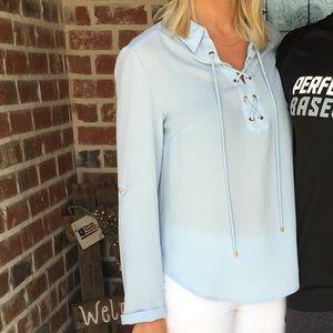 Jones New York | light blue linen lace up blouse